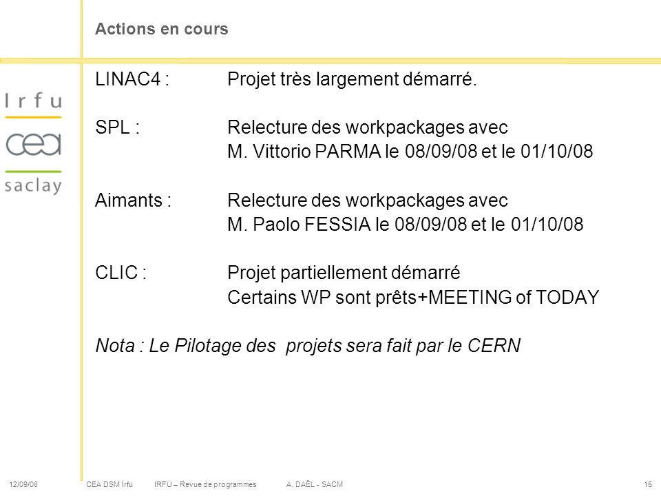 CEA DSM Irfu 12/09/08IRFU – Revue de programmes A. DAËL - SACM15 Actions en cours LINAC4 :Projet très largement démarré. SPL :Relecture des workpackag