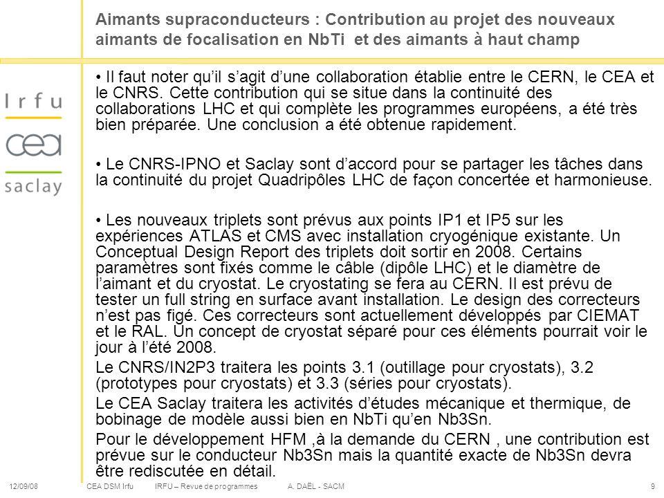 CEA DSM Irfu 12/09/08IRFU – Revue de programmes A. DAËL - SACM9 Aimants supraconducteurs : Contribution au projet des nouveaux aimants de focalisation