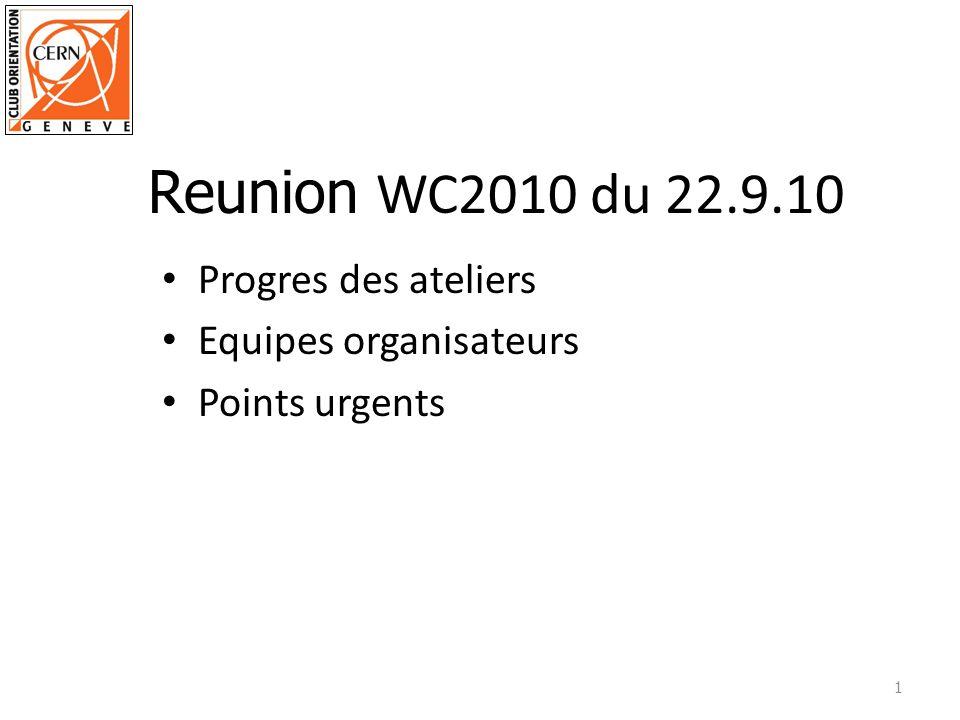 Progres des ateliers Equipes organisateurs Points urgents 1 Reunion WC2010 du 22.9.10