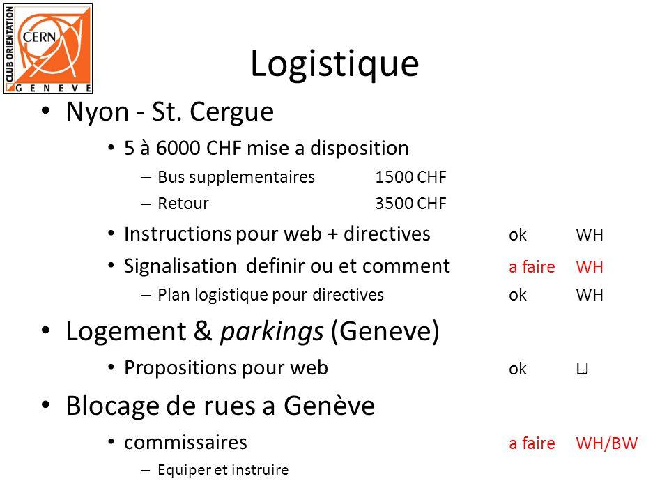 Logistique Nyon - St. Cergue 5 à 6000 CHF mise a disposition – Bus supplementaires1500 CHF – Retour 3500 CHF Instructions pour web + directives okWH S