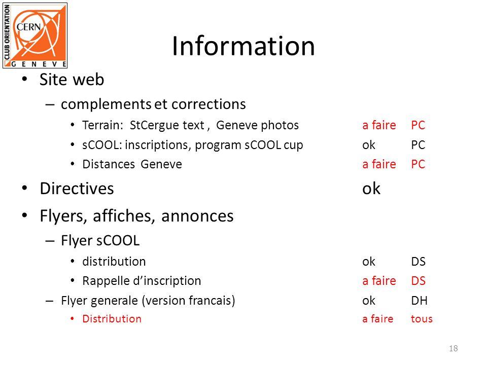 Information Site web – complements et corrections Terrain: StCergue text,Geneve photosa fairePC sCOOL: inscriptions, program sCOOL cupokPC Distances G