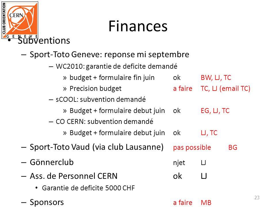 Finances Subventions – Sport-Toto Geneve: reponse mi septembre – WC2010: garantie de deficite demandé » budget + formulaire fin juinokBW, LJ, TC » Pre