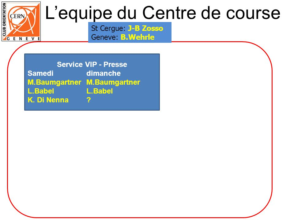 Lequipe du Centre de course Service VIP - Presse SamedidimancheM.BaumgartnerL.Babel K. Di Nenna? St Cergue: J-B Zosso Geneve: B.Wehrle
