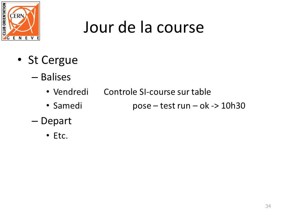 Jour de la course St Cergue – Balises VendrediControle SI-course sur table Samedipose – test run – ok -> 10h30 – Depart Etc. 34