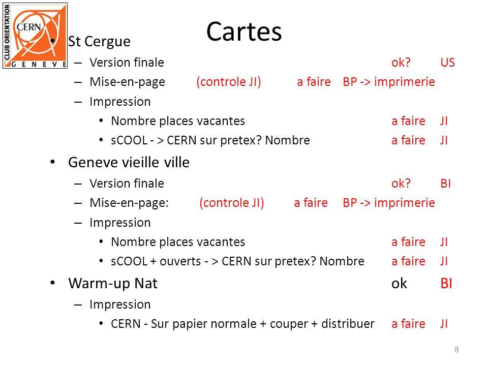 Cartes Les Evaux (1:2500 + 1:7500) – Version finaleok?BI – mise-en-pageok?BI – impression cartes, parcoursa faireTH/EG.