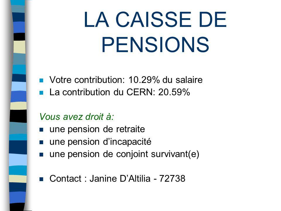 LA CAISSE DE PENSIONS n Votre contribution: 10.29% du salaire n La contribution du CERN: 20.59% Vous avez droit à: n une pension de retraite n une pension dincapacité n une pension de conjoint survivant(e) n Contact : Janine DAltilia - 72738