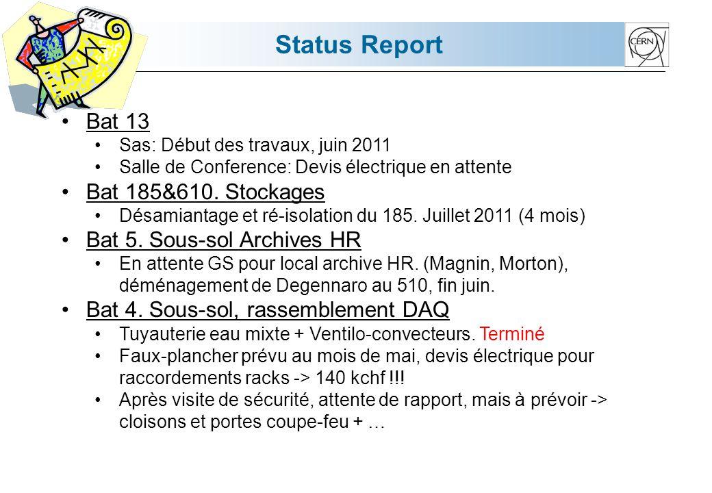 Status Report Bat 13 Sas: Début des travaux, juin 2011 Salle de Conference: Devis électrique en attente Bat 185&610.