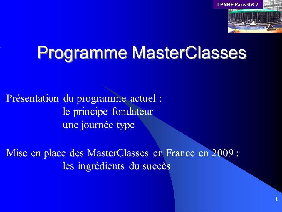 LPNHE Paris 6 & 7 1 Programme MasterClasses Présentation du programme actuel : le principe fondateur une journée type Mise en place des MasterClasses en France en 2009 : les ingrédients du succès