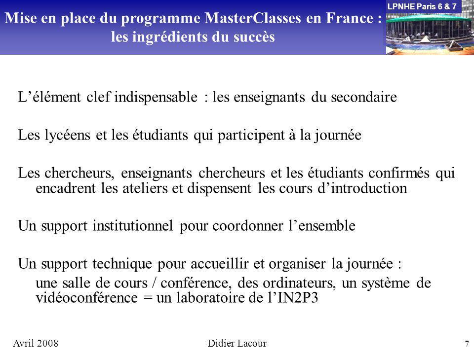 LPNHE Paris 6 & 7 Avril 2008Didier Lacour 7 Lélément clef indispensable : les enseignants du secondaire Les lycéens et les étudiants qui participent à