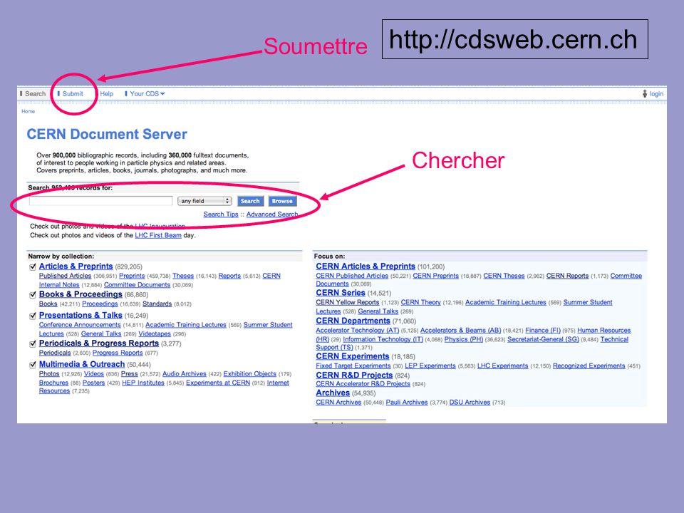 Soumettre Chercher http://cdsweb.cern.ch