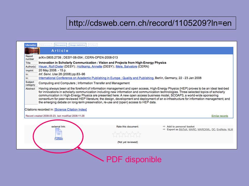 http://cdsweb.cern.ch/record/1115073?ln=en PDF disponible http://cdsweb.cern.ch/record/1105209?ln=en