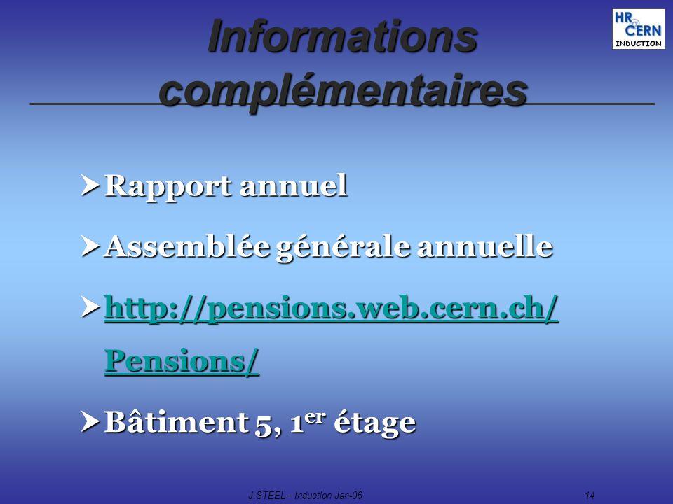 J.STEEL – Induction Jan-0614 Informations complémentaires Rapport annuel Rapport annuel Assemblée générale annuelle Assemblée générale annuelle http:/