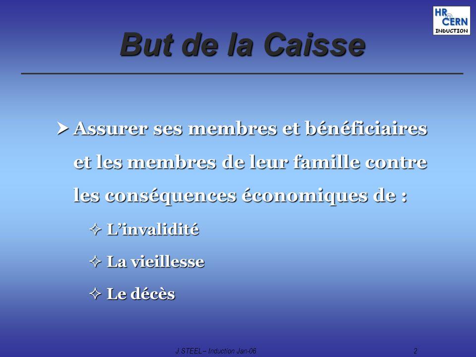 J.STEEL – Induction Jan-062 But de la Caisse Assurer ses membres et bénéficiaires et les membres de leur famille contre les conséquences économiques d