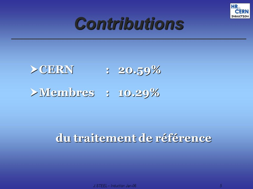 J.STEEL – Induction Jan-065 Contributions CERN : 20.59% CERN : 20.59% Membres : 10.29% Membres : 10.29% du traitement de référence