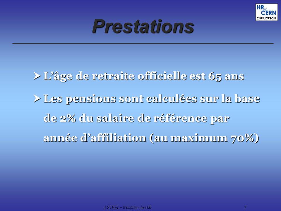 J.STEEL – Induction Jan-067 Prestations Lâge de retraite officielle est 65 ans Lâge de retraite officielle est 65 ans Les pensions sont calculées sur
