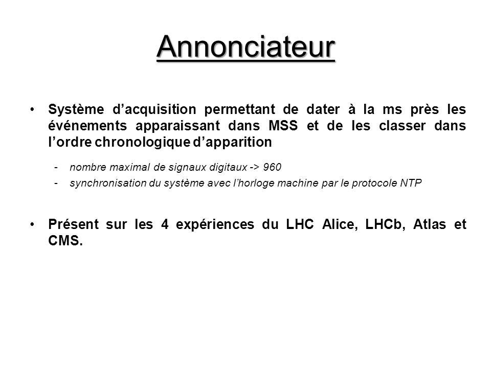 Annonciateur Système dacquisition permettant de dater à la ms près les événements apparaissant dans MSS et de les classer dans lordre chronologique dapparition -nombre maximal de signaux digitaux -> 960 -synchronisation du système avec lhorloge machine par le protocole NTP Présent sur les 4 expériences du LHC Alice, LHCb, Atlas et CMS.