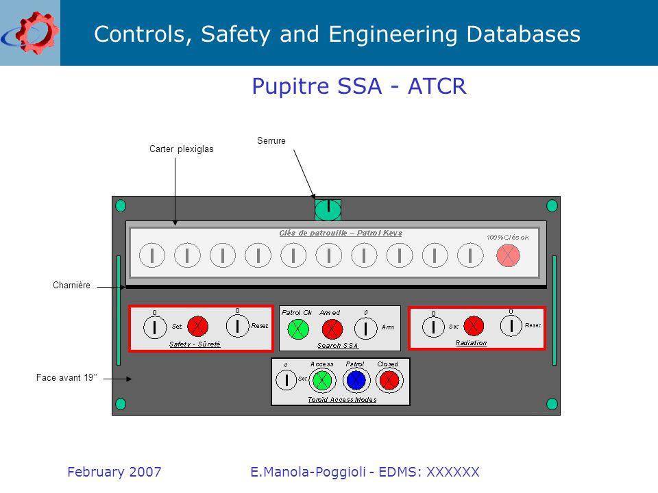 Controls, Safety and Engineering Databases February 2007E.Manola-Poggioli - EDMS: XXXXXX Key distributor Aiming to the maximum use of the standard LACS infrastructure (equipment and supervision).