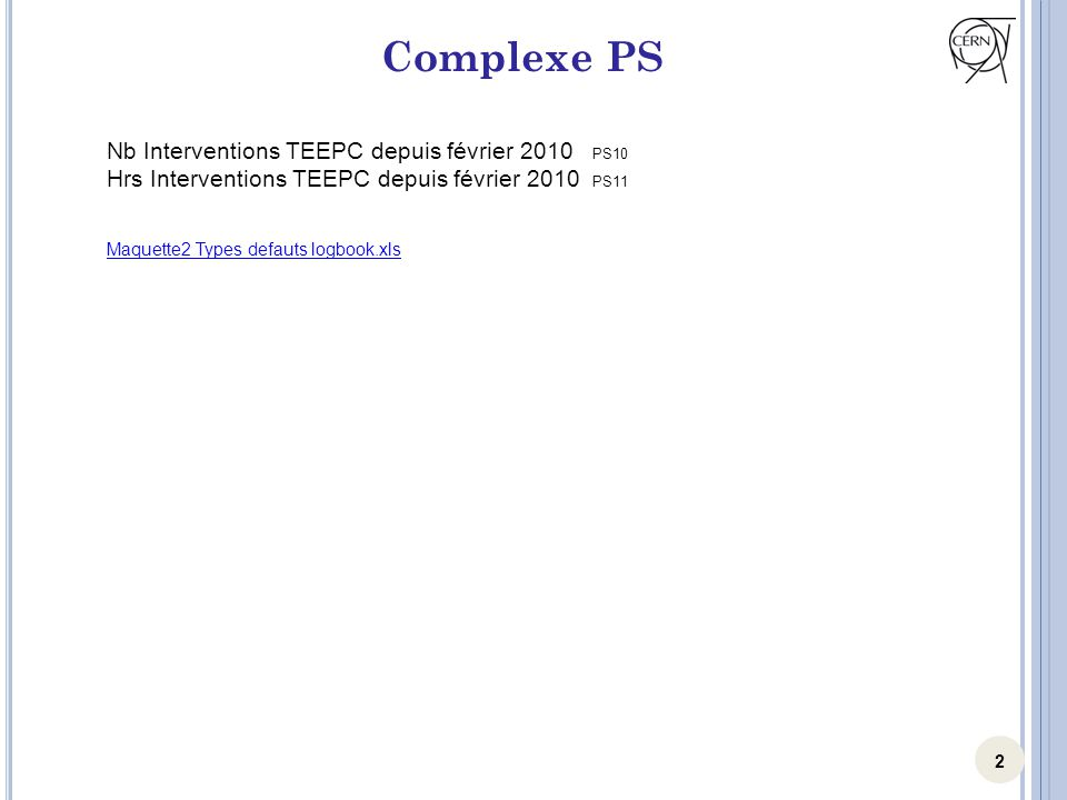 2 Complexe PS Nb Interventions TEEPC depuis février 2010 PS10 Hrs Interventions TEEPC depuis février 2010 PS11 Maquette2 Types defauts logbook.xls