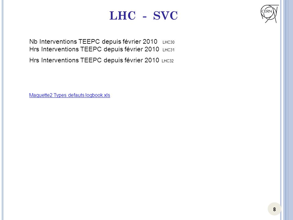 8 LHC - SVC Nb Interventions TEEPC depuis février 2010 LHC30 Hrs Interventions TEEPC depuis février 2010 LHC31 Hrs Interventions TEEPC depuis février