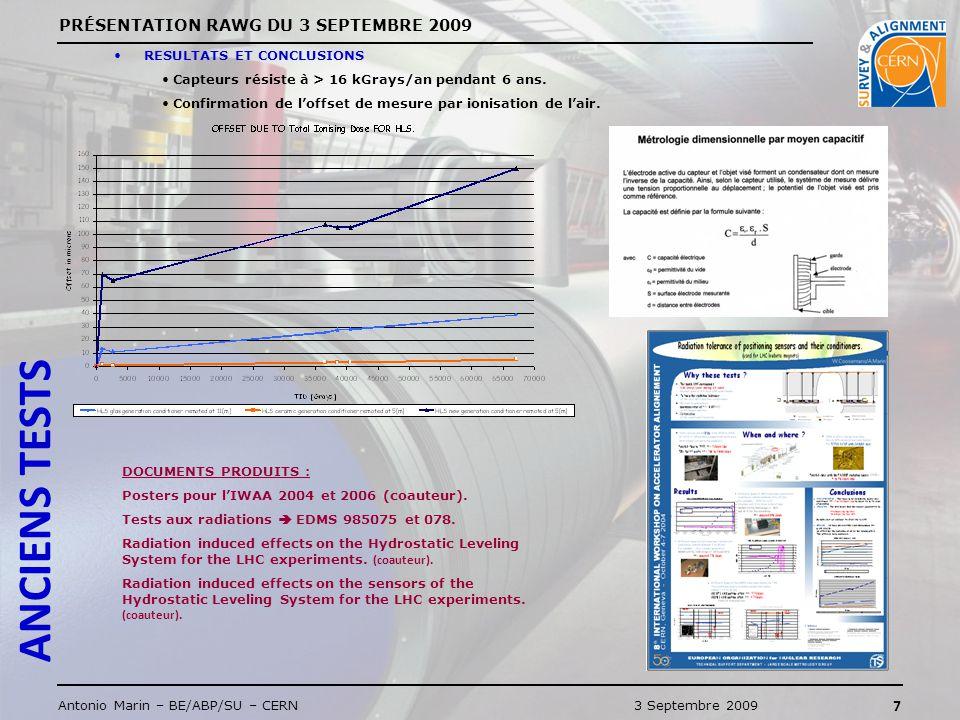 PRÉSENTATION RAWG DU 3 SEPTEMBRE 2009 7 Antonio Marin – BE/ABP/SU – CERN3 Septembre 2009 ANCIENS TESTS RESULTATS ET CONCLUSIONS Capteurs résiste à > 16 kGrays/an pendant 6 ans.