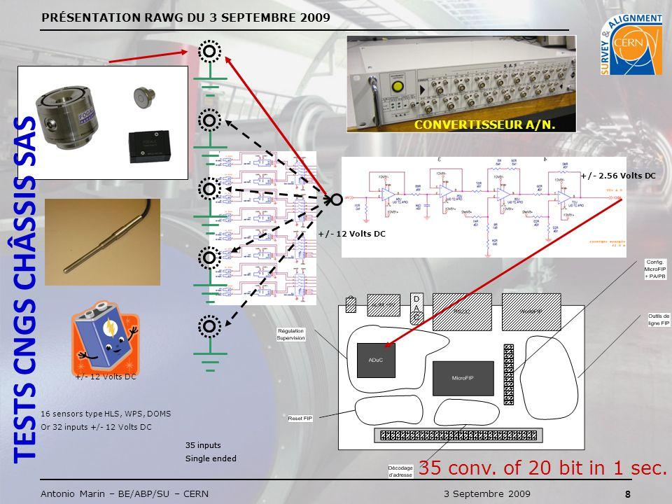 PRÉSENTATION RAWG DU 3 SEPTEMBRE 2009 8 Antonio Marin – BE/ABP/SU – CERN3 Septembre 2009 +/- 12 Volts DC +/- 2.56 Volts DC +/- 12 Volts DC 16 sensors type HLS, WPS, DOMS Or 32 inputs +/- 12 Volts DC 35 inputs Single ended 35 inputs Single ended 35 inputs Single ended 35 conv.