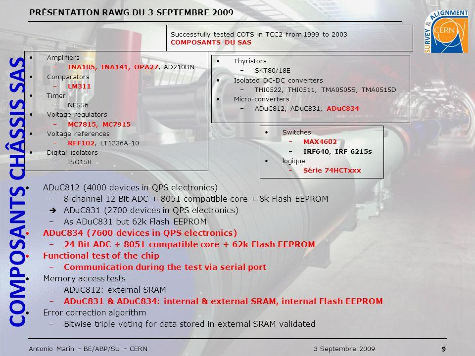 PRÉSENTATION RAWG DU 3 SEPTEMBRE 2009 10 Antonio Marin – BE/ABP/SU – CERN3 Septembre 2009 DESCRIPTION TESTS CONSOMATION DES ALIMENTATIONS COMPORTEMENT DES CONDITIONNEURS SWITCHES MOS + MAXIM CARTE ADUC834 + FIP SYNCHRONISATION Programmes de logging et PC CYCLES DE 5 MINUTES 2 min de logging standard 1 min de coupure alim.