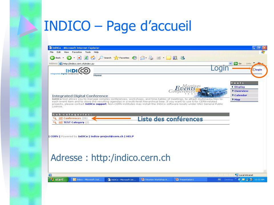 INDICO – Login Création dun compte utilisateur, Possibilité dutiliser les login et password Nice, Etape obligatoire pour la soumission et lapprobation des abstracts/présentations.