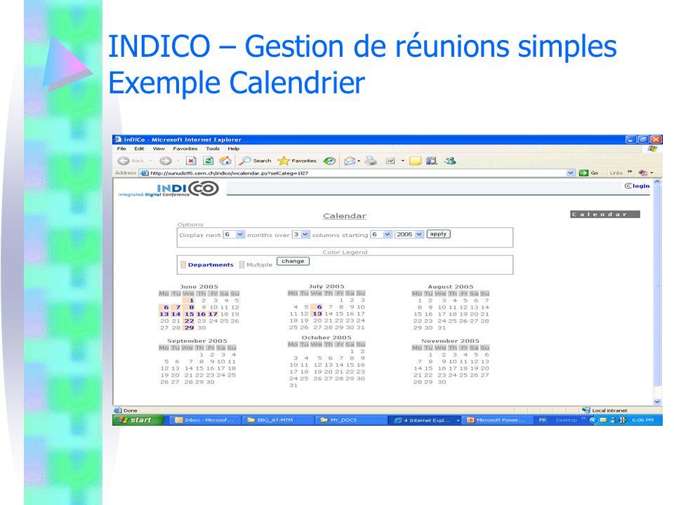 INDICO – Gestion de réunions simples Exemple Planning