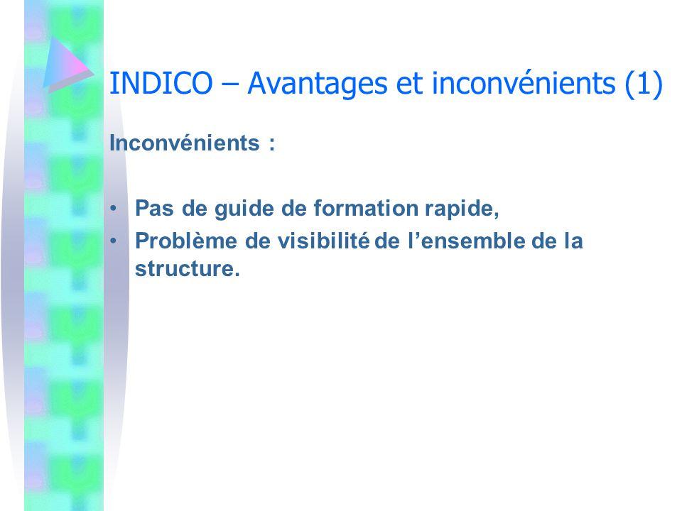 INDICO – Avantages et inconvénients (1) Inconvénients : Pas de guide de formation rapide, Problème de visibilité de lensemble de la structure.