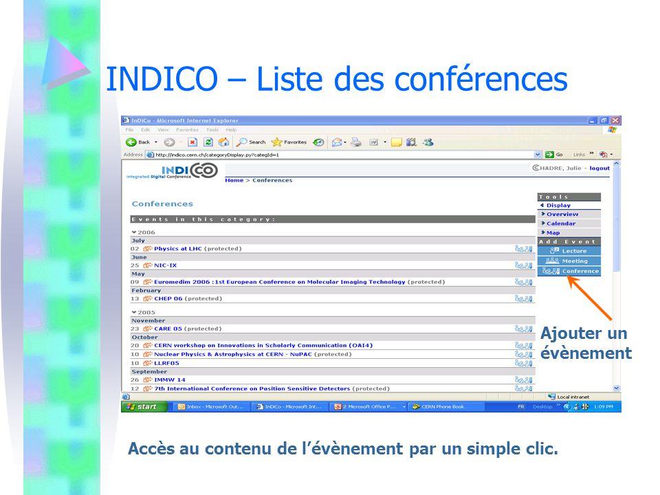 INDICO – Liste des conférences Ajouter un évènement Accès au contenu de lévènement par un simple clic.