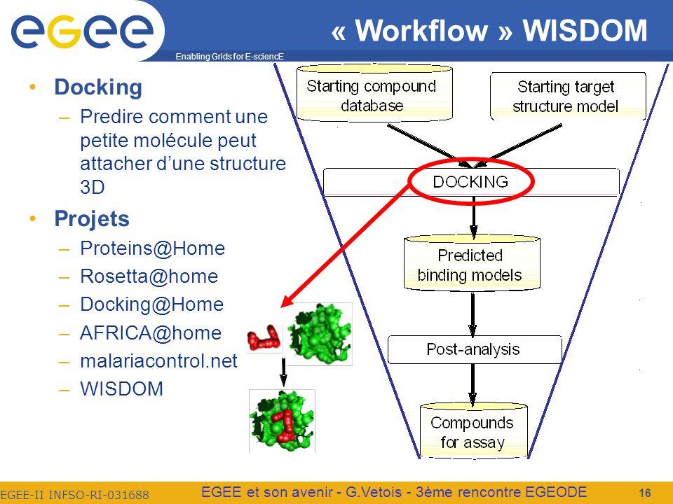 Enabling Grids for E-sciencE EGEE-II INFSO-RI-031688 EGEE et son avenir - G.Vetois - 3ème rencontre EGEODE « Workflow » WISDOM Docking –Predire comment une petite molécule peut attacher dune structure 3D Projets –Proteins@Home –Rosetta@home –Docking@Home –AFRICA@home –malariacontrol.net –WISDOM 16