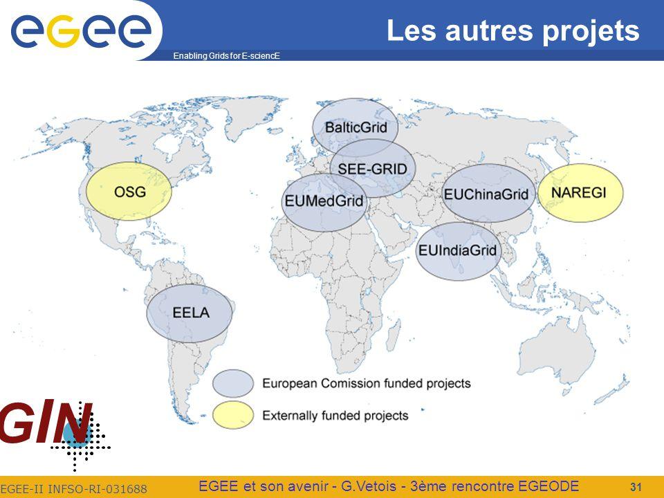 Enabling Grids for E-sciencE EGEE-II INFSO-RI-031688 EGEE et son avenir - G.Vetois - 3ème rencontre EGEODE Les autres projets 31 GINGIN