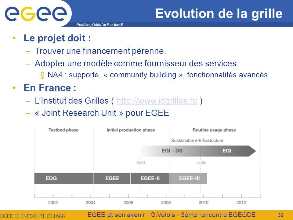 Enabling Grids for E-sciencE EGEE-II INFSO-RI-031688 EGEE et son avenir - G.Vetois - 3ème rencontre EGEODE Evolution de la grille Le projet doit : –Trouver une financement pérenne.