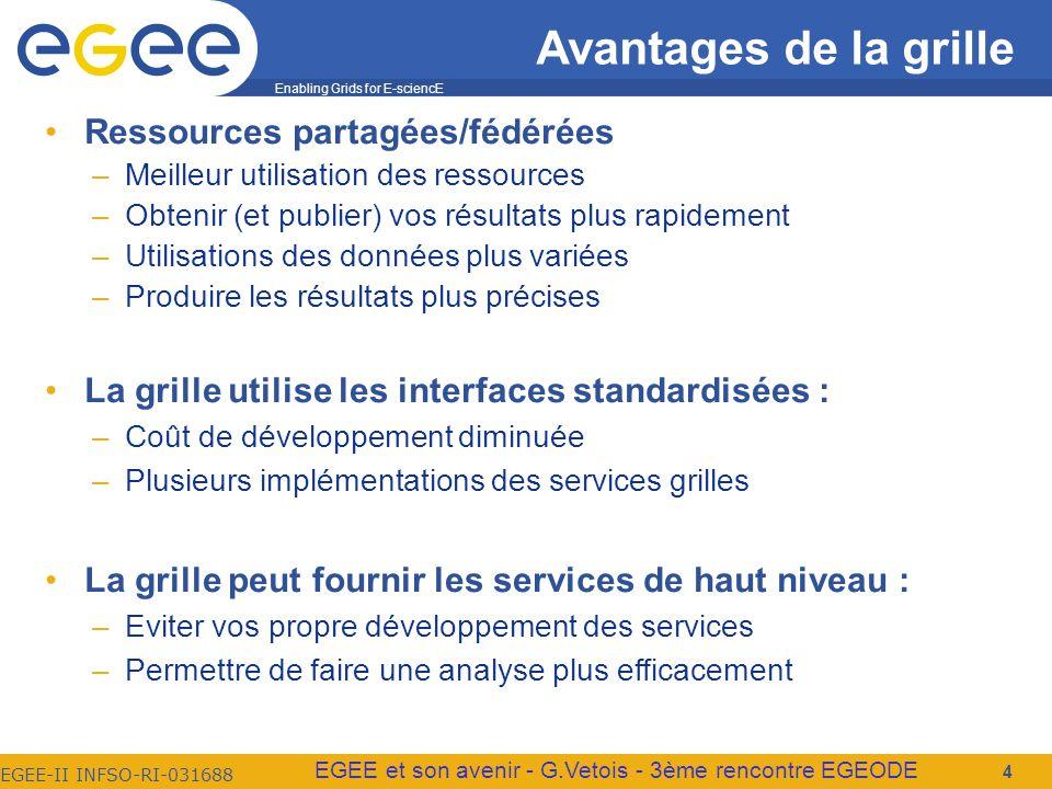 Enabling Grids for E-sciencE EGEE-II INFSO-RI-031688 EGEE et son avenir - G.Vetois - 3ème rencontre EGEODE Avantages de la grille Ressources partagées/fédérées –Meilleur utilisation des ressources –Obtenir (et publier) vos résultats plus rapidement –Utilisations des données plus variées –Produire les résultats plus précises La grille utilise les interfaces standardisées : –Coût de développement diminuée –Plusieurs implémentations des services grilles La grille peut fournir les services de haut niveau : –Eviter vos propre développement des services –Permettre de faire une analyse plus efficacement 4