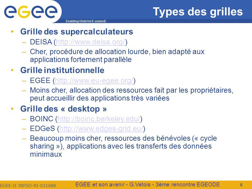 Enabling Grids for E-sciencE EGEE-II INFSO-RI-031688 EGEE et son avenir - G.Vetois - 3ème rencontre EGEODE Types des grilles Grille des supercalculateurs –DEISA (http://www.deisa.org/)http://www.deisa.org/ –Cher, procédure de allocation lourde, bien adapté aux applications fortement parallèle Grille institutionnelle –EGEE (http://www.eu-egee.org/)http://www.eu-egee.org/ –Moins cher, allocation des ressources fait par les propriétaires, peut accueillir des applications très variées Grille des « desktop » –BOINC (http://boinc.berkeley.edu/)http://boinc.berkeley.edu/ –EDGeS (http://www.edges-grid.eu/)http://www.edges-grid.eu/ –Beaucoup moins cher, ressources des bénévoles (« cycle sharing »), applications avec les transferts des données minimaux 6