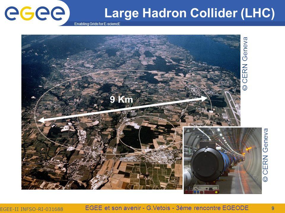 Enabling Grids for E-sciencE EGEE-II INFSO-RI-031688 EGEE et son avenir - G.Vetois - 3ème rencontre EGEODE Large Hadron Collider (LHC) 9 9 Km © CERN Geneva