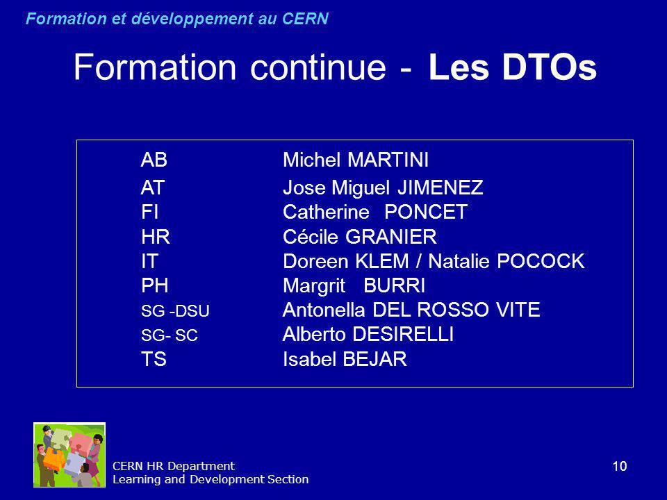 10 CERN HR Department Learning and Development Section AB Michel MARTINI AT Jose Miguel JIMENEZ FI Catherine PONCET HR Cécile GRANIER IT Doreen KLEM /