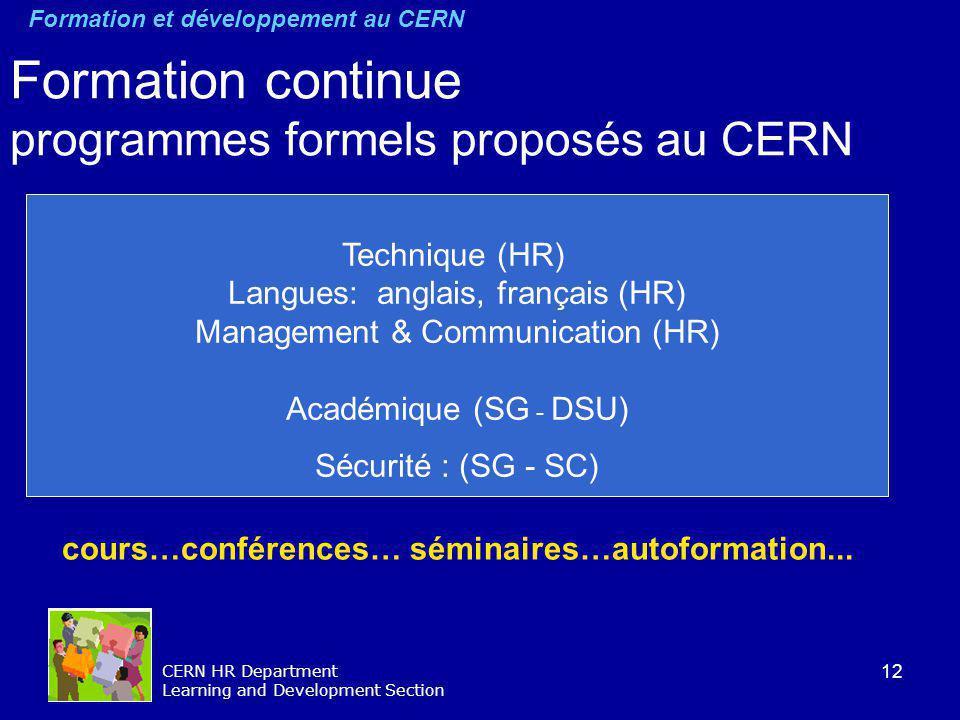 12 CERN HR Department Learning and Development Section Formation continue programmes formels proposés au CERN cours…conférences… séminaires…autoformat