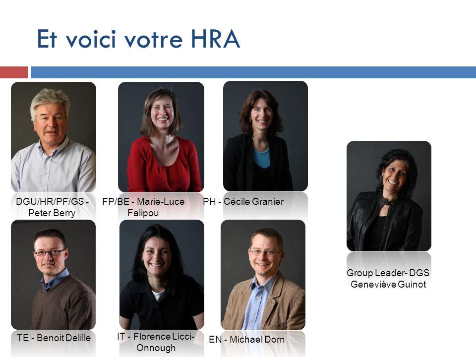 Et voici votre HRA DGU/HR/PF/GS - Peter Berry FP/BE - Marie-Luce Falipou PH - Cécile Granier EN - Michael Dorn TE - Benoit Delille Group Leader- DGS G