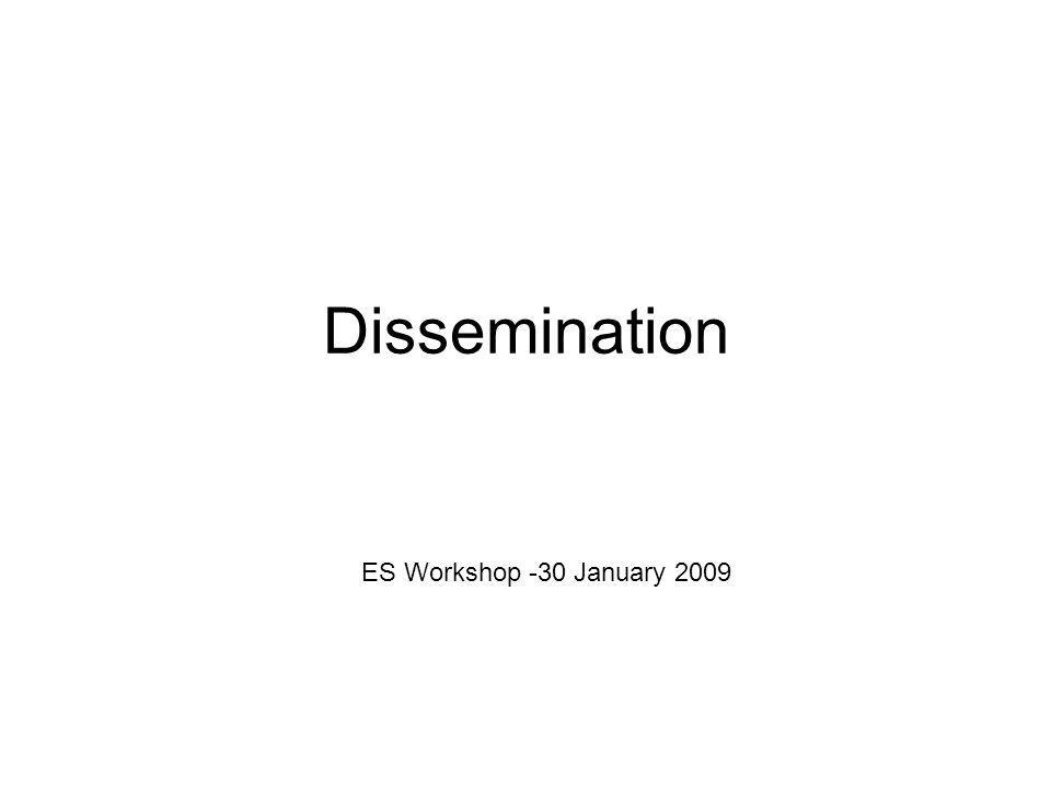 Dissemination ES Workshop -30 January 2009