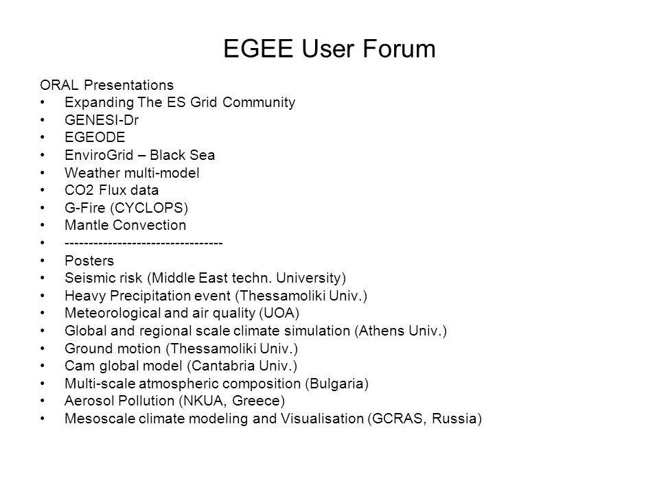 EGEE User Forum ORAL Presentations Expanding The ES Grid Community GENESI-Dr EGEODE EnviroGrid – Black Sea Weather multi-model CO2 Flux data G-Fire (C