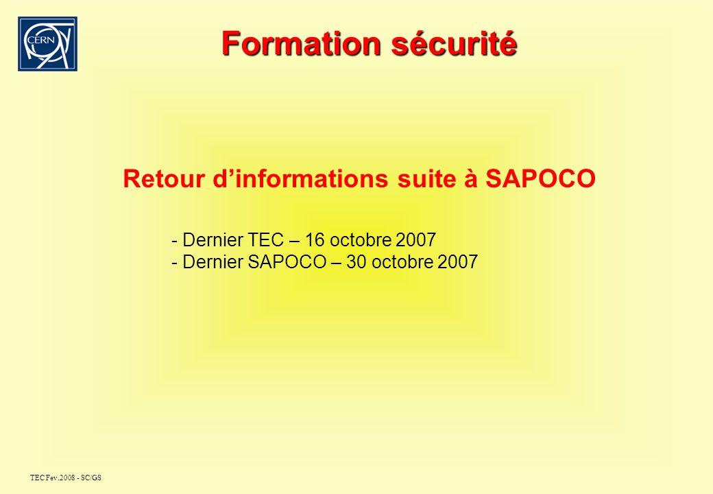 TEC Fev.2008 - SC/GS TEC Réunion Formation Sécurité 26 février 2008