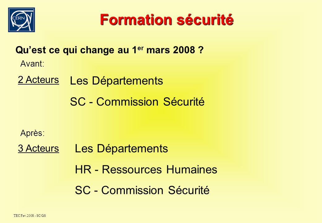 TEC Fev.2008 - SC/GS Formation sécurité Retour dinformations suite à SAPOCO - Dernier TEC – 16 octobre 2007 - Dernier SAPOCO – 30 octobre 2007