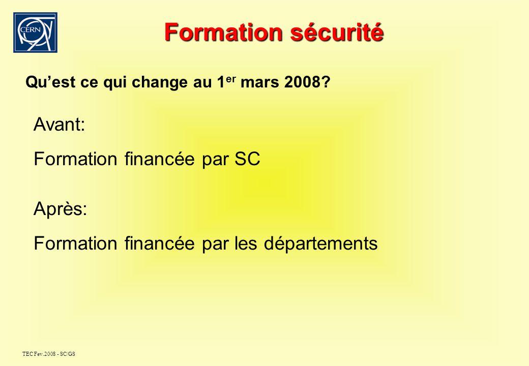 TEC Fev.2008 - SC/GS Formation sécurité Quest ce qui change au 1 er mars 2008 .