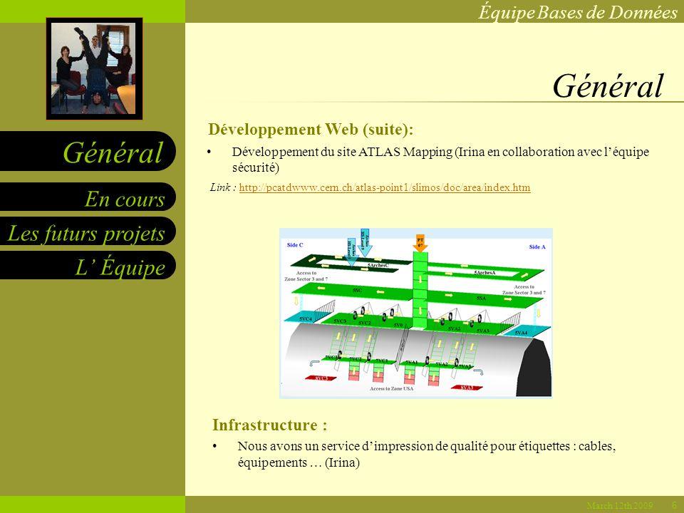 Équipe Bases de Données Les futurs projets L Équipe En cours Général March 12th 2009 Général Infrastructure : Nous avons un service dimpression de qualité pour étiquettes : cables, équipements … (Irina) Développement du site ATLAS Mapping (Irina en collaboration avec léquipe sécurité) Link : http://pcatdwww.cern.ch/atlas-point1/slimos/doc/area/index.htmhttp://pcatdwww.cern.ch/atlas-point1/slimos/doc/area/index.htm Développement Web (suite): 6