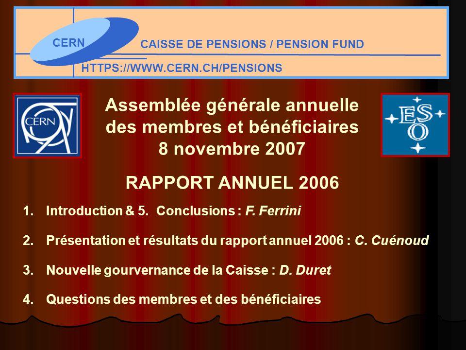 CERN CAISSE DE PENSIONS / PENSION FUND HTTPS://WWW.CERN.CH/PENSIONS Assemblée générale annuelle des membres et bénéficiaires 8 novembre 2007 RAPPORT ANNUEL 2006 1.