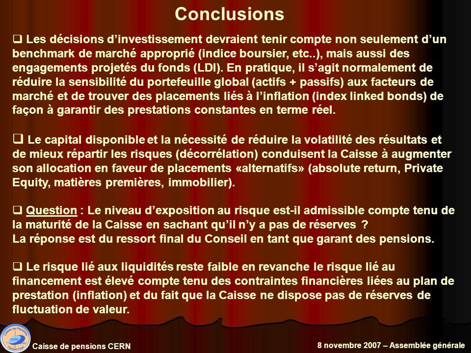 Caisse de pensions CERN 8 novembre 2007 – Assemblée générale Conclusions Les décisions dinvestissement devraient tenir compte non seulement dun benchmark de marché approprié (indice boursier, etc..), mais aussi des engagements projetés du fonds (LDI).