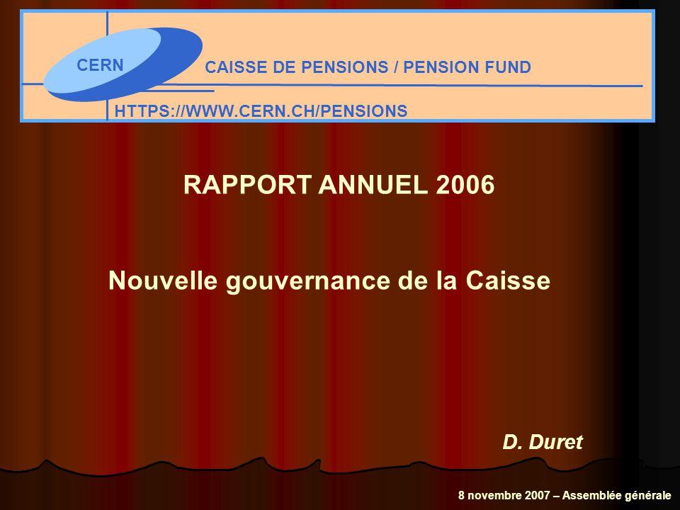 CERN CAISSE DE PENSIONS / PENSION FUND HTTPS://WWW.CERN.CH/PENSIONS RAPPORT ANNUEL 2006 Nouvelle gouvernance de la Caisse D.