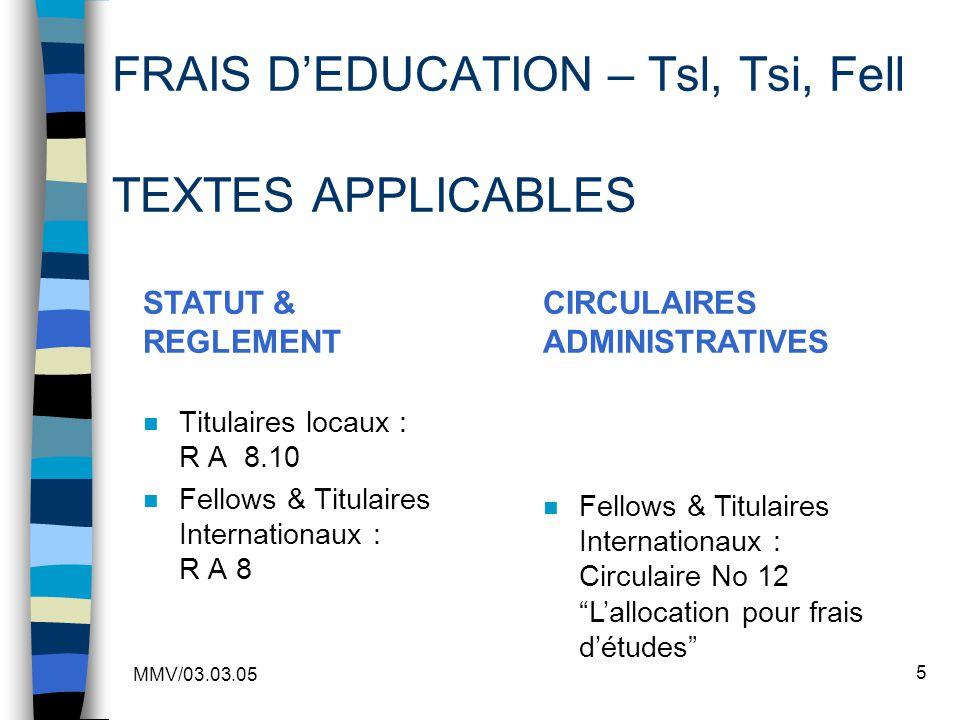 MMV/03.03.05 5 FRAIS DEDUCATION – Tsl, Tsi, Fell TEXTES APPLICABLES n Titulaires locaux : R A 8.10 n Fellows & Titulaires Internationaux : R A 8 STATU