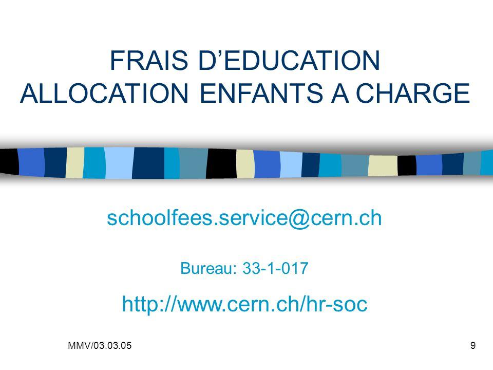 MMV/03.03.059 FRAIS DEDUCATION ALLOCATION ENFANTS A CHARGE schoolfees.service@cern.ch Bureau: 33-1-017 http://www.cern.ch/hr-soc